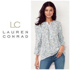 LC Lauren Conrad White Ruffle Sleeve Blouse Sz XS